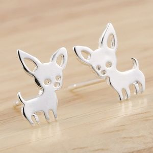 Jewelry - NEW Silver Tone Chihuahua Dog Pet Stud Earrings